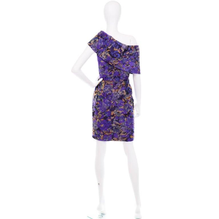 Oscar de la Renta Purple Floral Silk Runway Dress Fall 2007 For Sale 1
