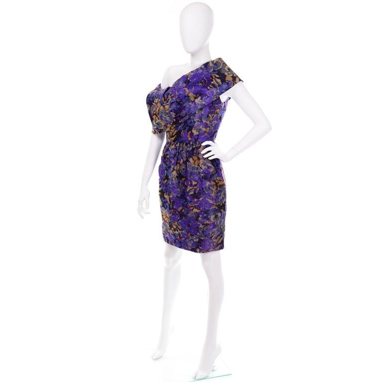 Oscar de la Renta Purple Floral Silk Runway Dress Fall 2007 For Sale 2