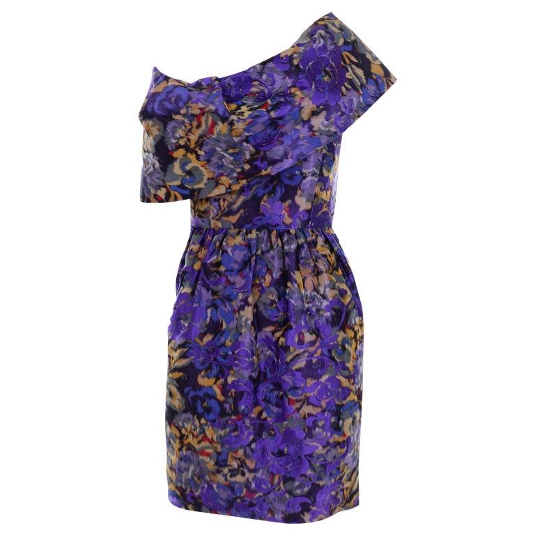 Oscar de la Renta Purple Floral Silk Runway Dress Fall 2007 For Sale