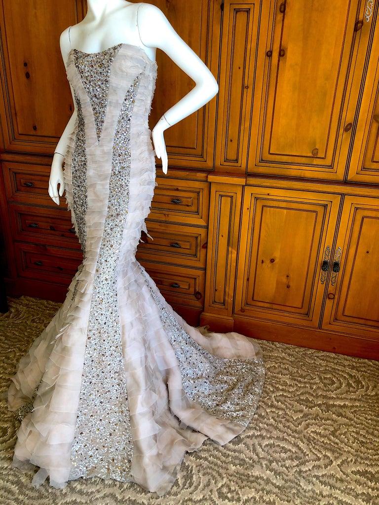 Oscar de la Renta Raw Edge Embellished Layered Mermaid Dress w Inner Corset Sz 2 5