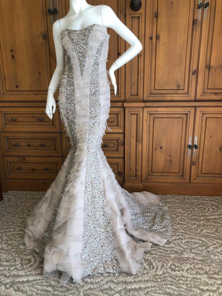 Oscar de la Renta Raw Edge Embellished Layered Mermaid Dress w Inner Corset Sz 2 6