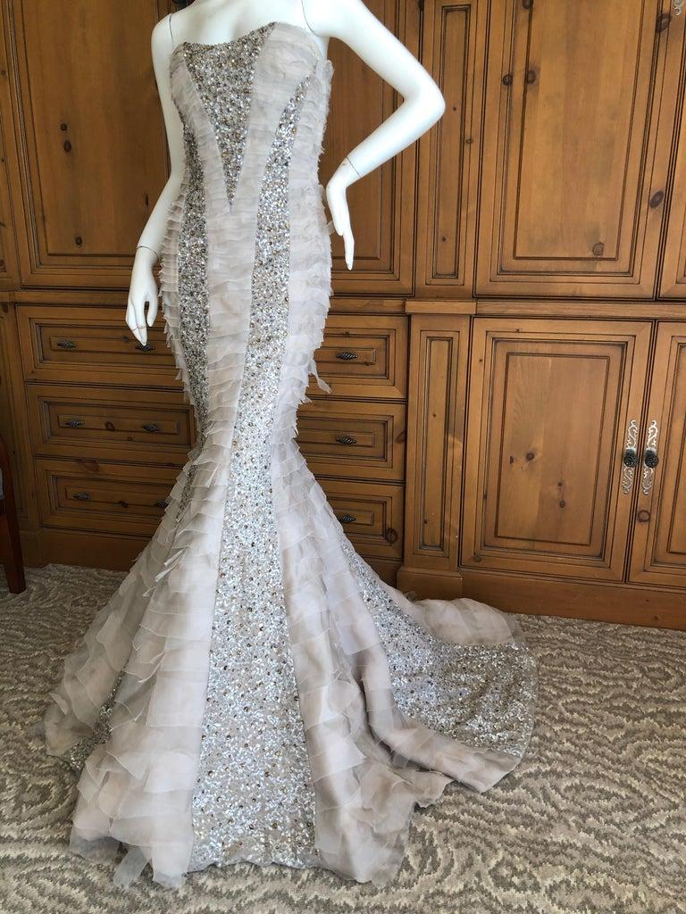 Oscar de la Renta Raw Edge Embellished Layered Mermaid Dress w Inner Corset Sz 2 7