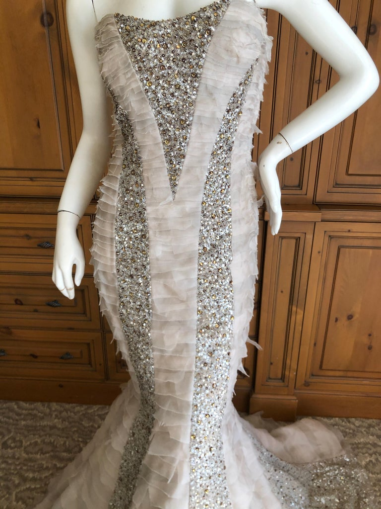 Gray Oscar de la Renta Raw Edge Embellished Layered Mermaid Dress w Inner Corset Sz 2