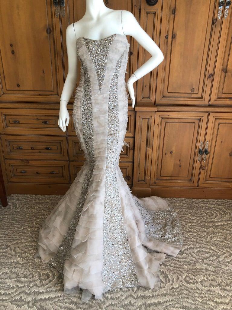 Oscar de la Renta Raw Edge Embellished Layered Mermaid Dress w Inner Corset Sz 2 In Excellent Condition In San Francisco, CA
