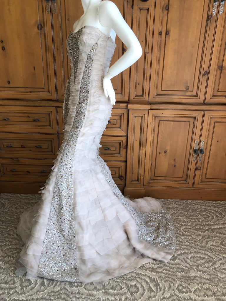 Women's Oscar de la Renta Raw Edge Embellished Layered Mermaid Dress w Inner Corset Sz 2