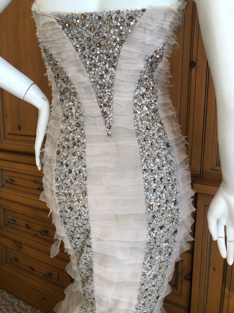 Oscar de la Renta Raw Edge Embellished Layered Mermaid Dress w Inner Corset Sz 2 1