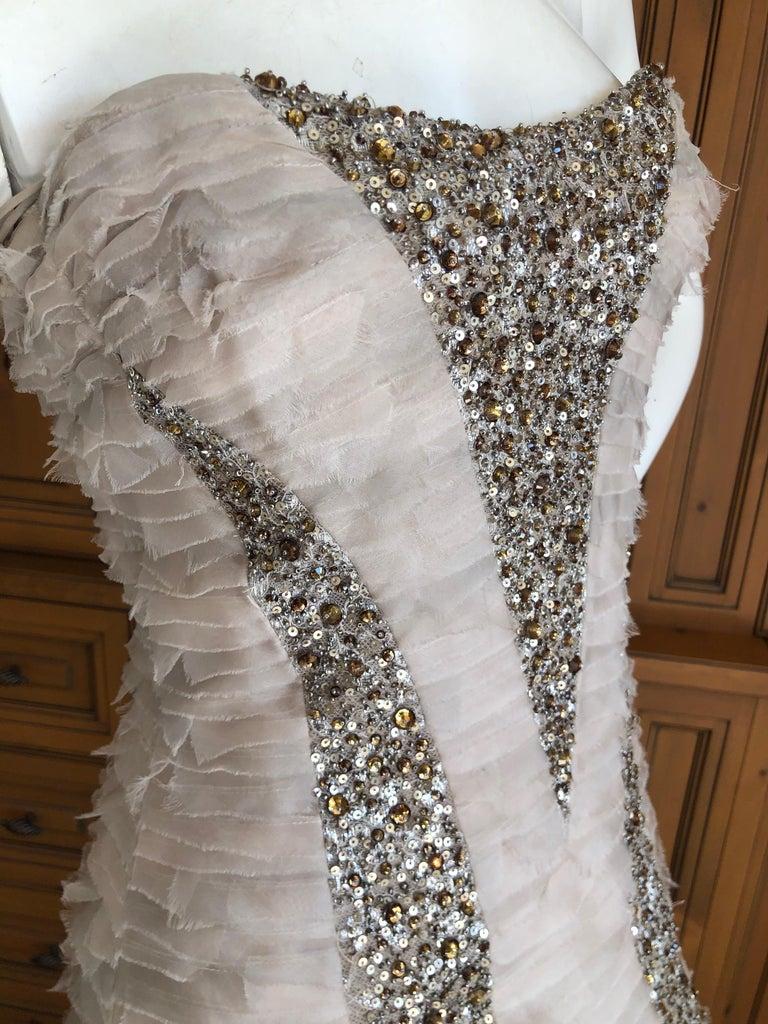 Oscar de la Renta Raw Edge Embellished Layered Mermaid Dress w Inner Corset Sz 2 2
