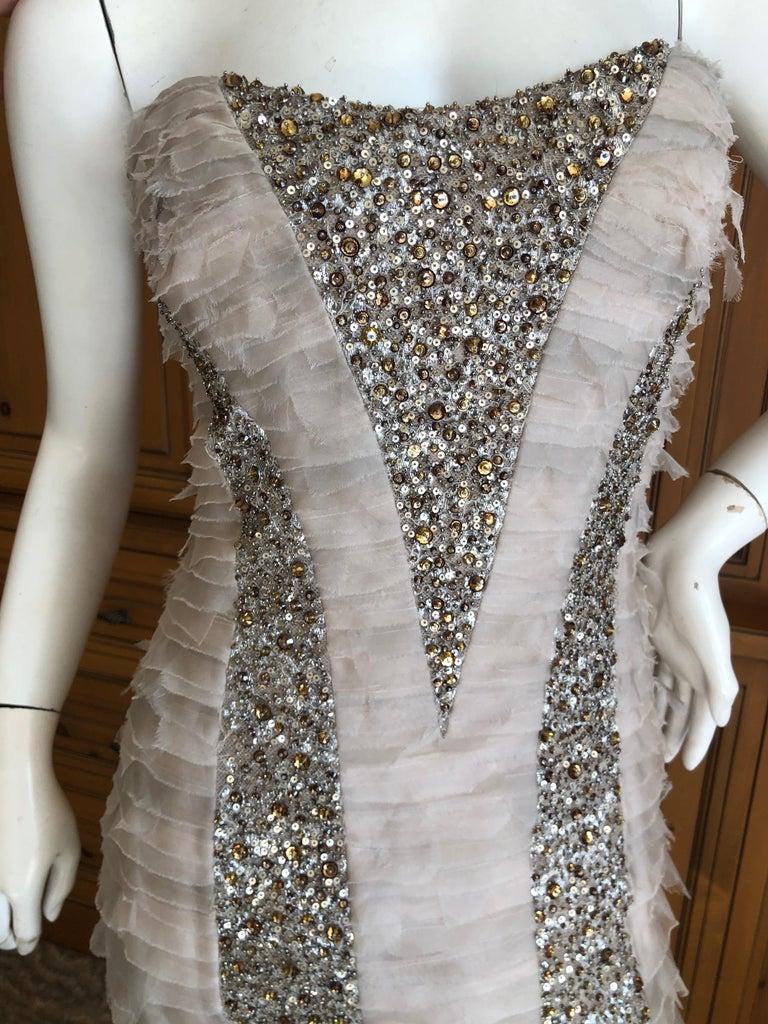 Oscar de la Renta Raw Edge Embellished Layered Mermaid Dress w Inner Corset Sz 2 3