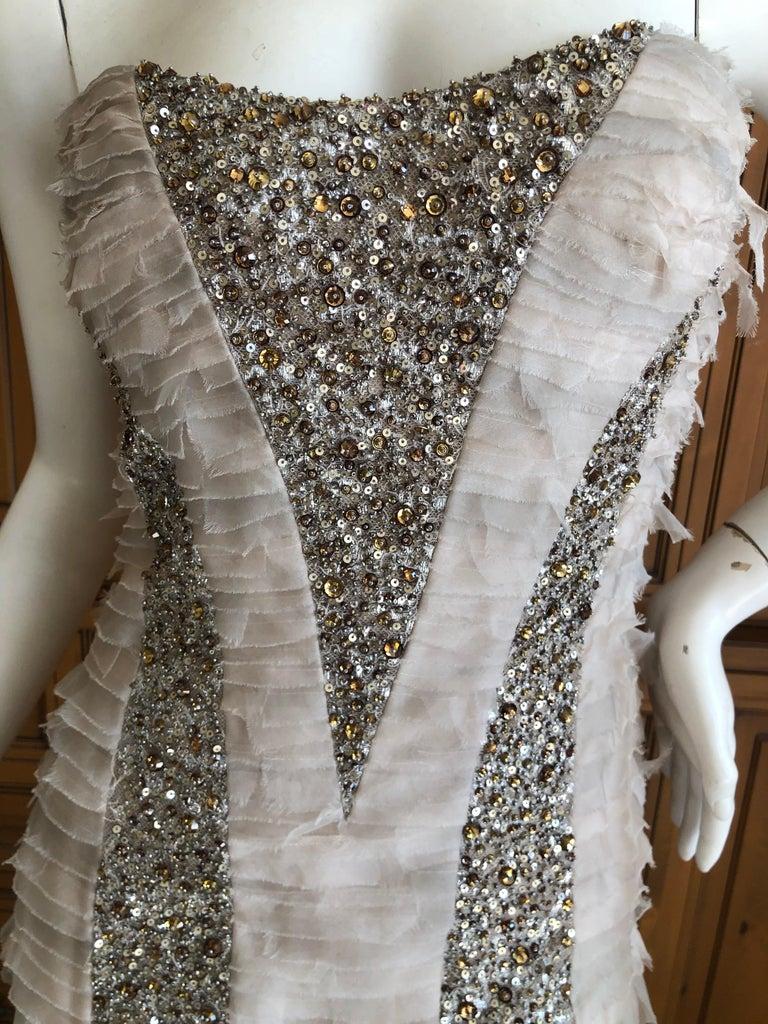 Oscar de la Renta Raw Edge Embellished Layered Mermaid Dress w Inner Corset Sz 2 4