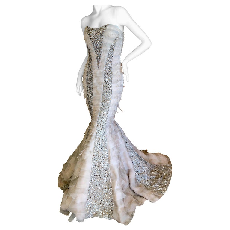 Oscar de la Renta Raw Edge Embellished Layered Mermaid Dress w Inner Corset Sz 2