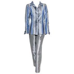 Oscar de la Renta Raw Silk Multi Color Striped Jacket Pant Suit