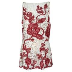Oscar de la Renta Red and White Lace Tunic Top 12