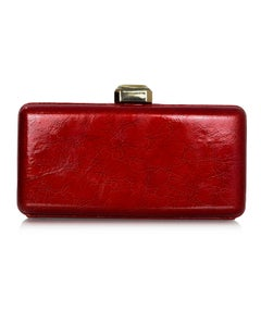 Oscar De La Renta Red Crinkled Patent Leather Minaudiere Clutch Bag