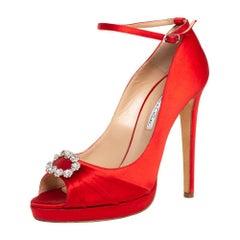 Oscar de la Renta Red Satin Crystal Embellished Peep Toe Ankle Pumps Size 40