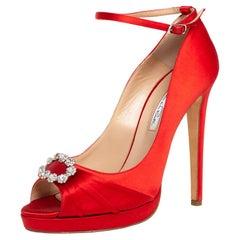 Oscar de la Renta Red Satin Crystal Embellished Peep Toe Strap Pumps Size 40