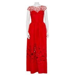 Oscar de la Renta Red Sequin Floral Embellished Cutout Detail Ball Gown L