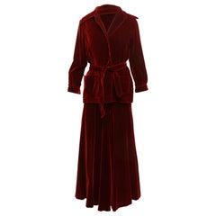 Oscar de la Renta Red Velvet Skirt Suit