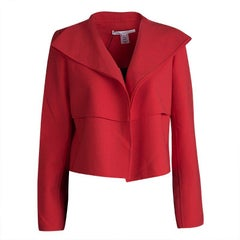 Oscar de la Renta Red Wool Open Front Cropped Jacket M