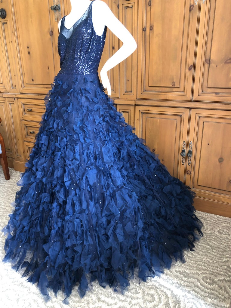 Oscar de la Renta Romantic Navy Blue Evening Gown A real fairy tale princess dress.  Simply Stunning. The skirts are very , very voluminous.  Please use the zoom feature to see all the remarkable details.  Four layers of skirts make for a very