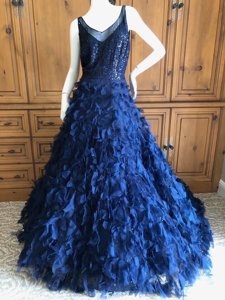Oscar de la Renta Romantic Navy Blue Evening Gown in Hard to Find Size 14 3