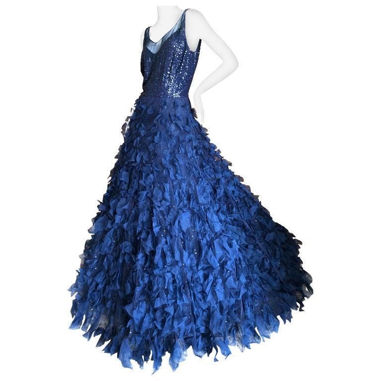 Oscar de la Renta Romantic Navy Blue Evening Gown in Hard to Find Size 14