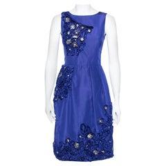 Oscar de la Renta Royal Blue Embellished Silk Sleeveless Sheath Dress XS