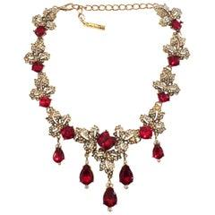 Oscar De La Renta Ruby red Diamante and white crystal necklace