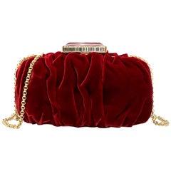 Oscar De La Renta Ruby Red Goa Velvet Clutch