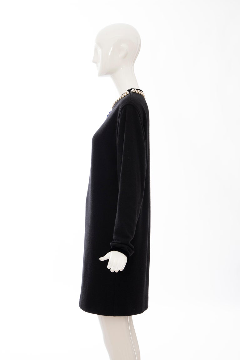 Oscar de la Renta Runway Black Embroidered Neckline Sweater Dress, Fall 1984 For Sale 6