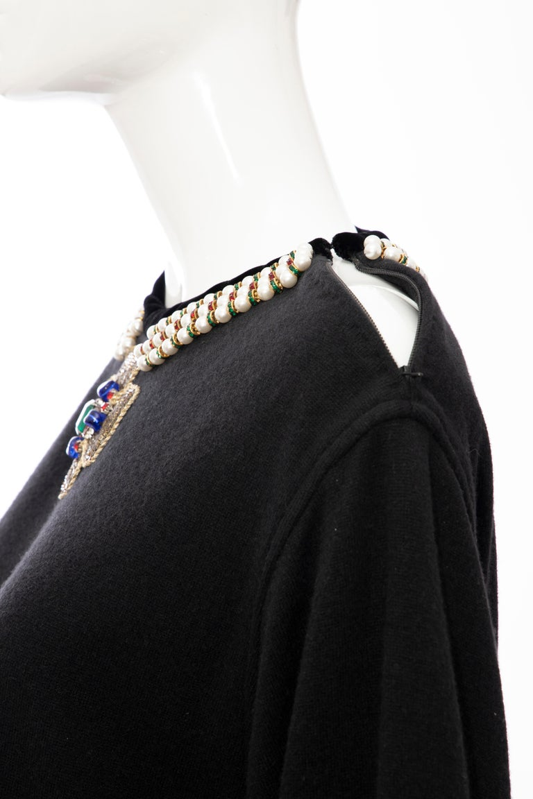 Oscar de la Renta Runway Black Embroidered Neckline Sweater Dress, Fall 1984 For Sale 8