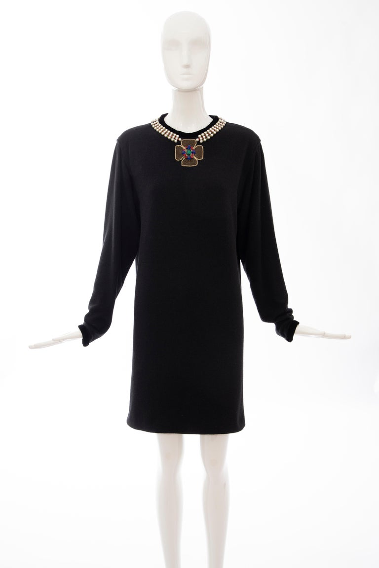 Oscar de la Renta, Runway Fall 1984, black wool sweater dress with pearl & rondelle spacer  glass rhinestones embroidered neckline, black velvet trim crew neck and sleeve detail with zip closure at shoulder and fully lined in black silk.  US.