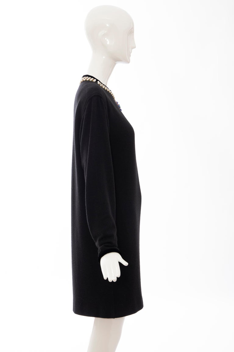Oscar de la Renta Runway Black Embroidered Neckline Sweater Dress, Fall 1984 For Sale 1