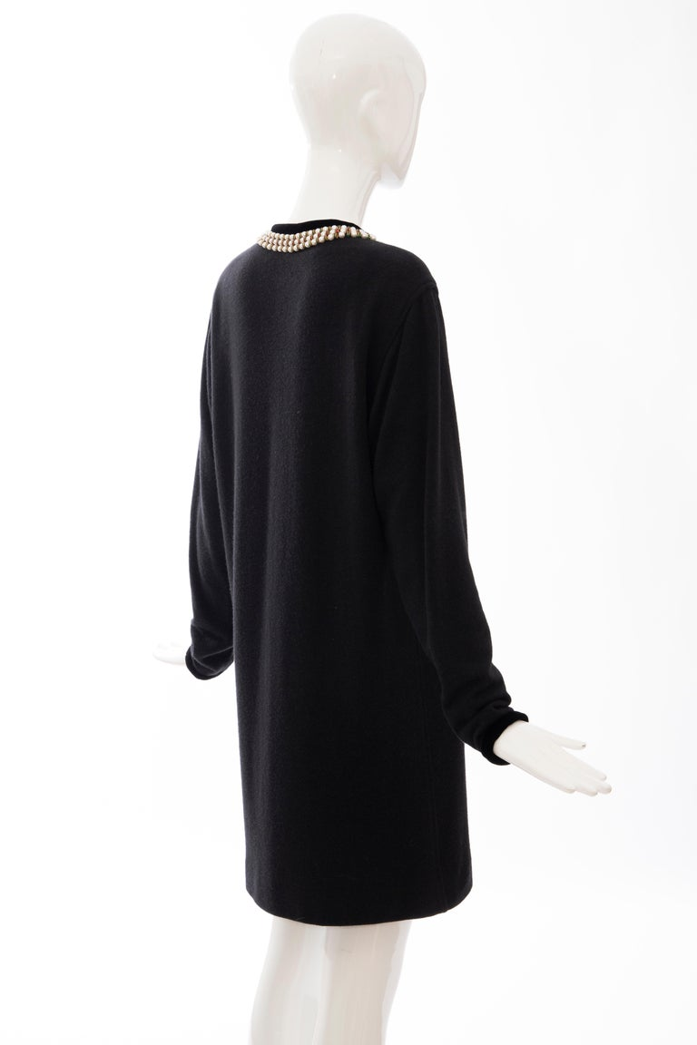 Oscar de la Renta Runway Black Embroidered Neckline Sweater Dress, Fall 1984 For Sale 2