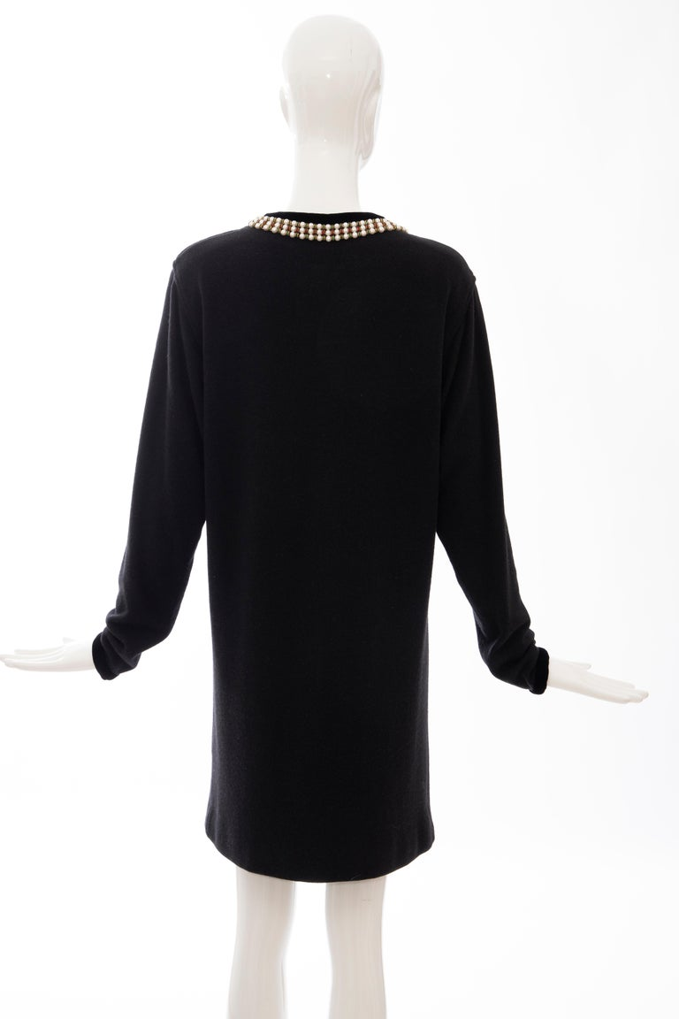 Oscar de la Renta Runway Black Embroidered Neckline Sweater Dress, Fall 1984 For Sale 3