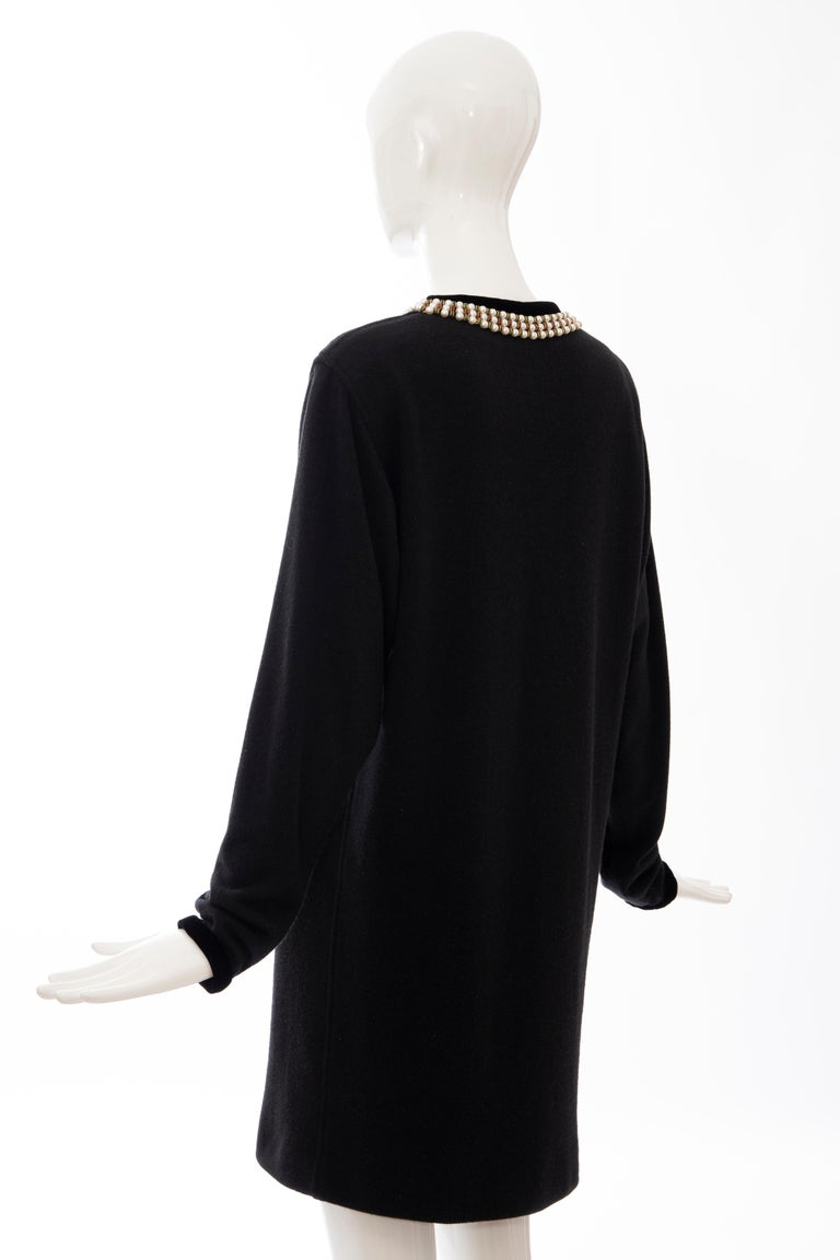 Oscar de la Renta Runway Black Embroidered Neckline Sweater Dress, Fall 1984 For Sale 5