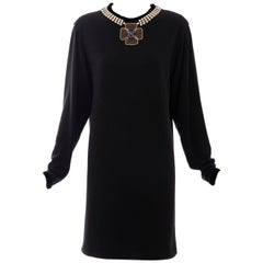 Oscar de la Renta Runway Black Embroidered Neckline Sweater Dress, Fall 1984