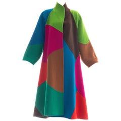 Oscar de la Renta Runway Double Faced Wool Color-Block Swing Coat, Fall 1991