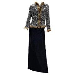 Oscar De La Renta Runway F/W 2001 Fully Beaded Fur Leopard Pattern Skirt Suit 10