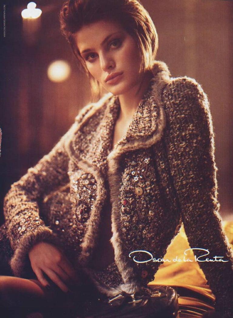 Oscar De La Renta Runway F/W 2004 Beaded Embroidered Fur Trim Coat Cardigan  For Sale 14