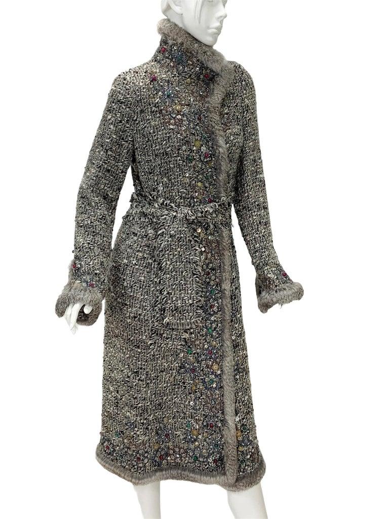 Gray Oscar De La Renta Runway F/W 2004 Beaded Embroidered Fur Trim Coat Cardigan  For Sale