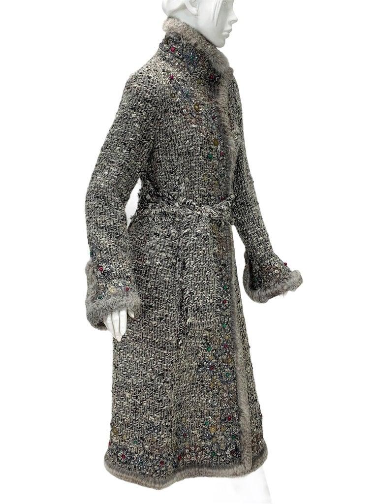 Oscar De La Renta Runway F/W 2004 Beaded Embroidered Fur Trim Coat Cardigan  For Sale 1