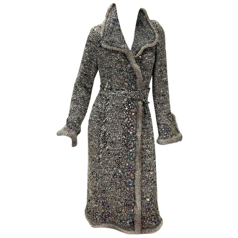 Oscar De La Renta Runway F/W 2004 Beaded Embroidered Fur Trim Coat Cardigan  For Sale