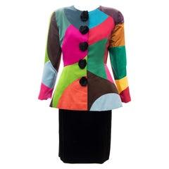 Oscar de la Renta Runway Silk Color-Block Skirt Suit, Fall 1991