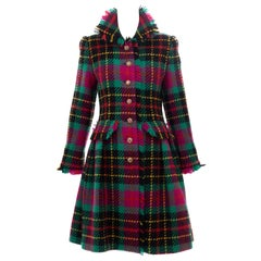 Oscar de La Renta Runway Tartan Plaid Crystal Button Front Coat, Fall 1991