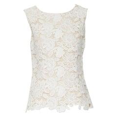 OSCAR DE LA RENTA S15 cream beige lace front silk back sleeveless top US6