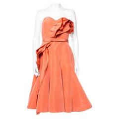 Oscar de la Renta Salmon Pink Silk Ruffle Detail Bustier Mini Dress XL