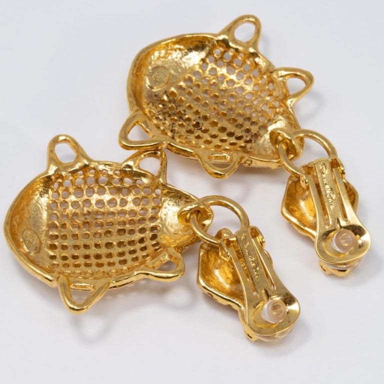 Women's or Men's Oscar de la Renta Scarab Clip On Dangling Earrings In Gold For Sale