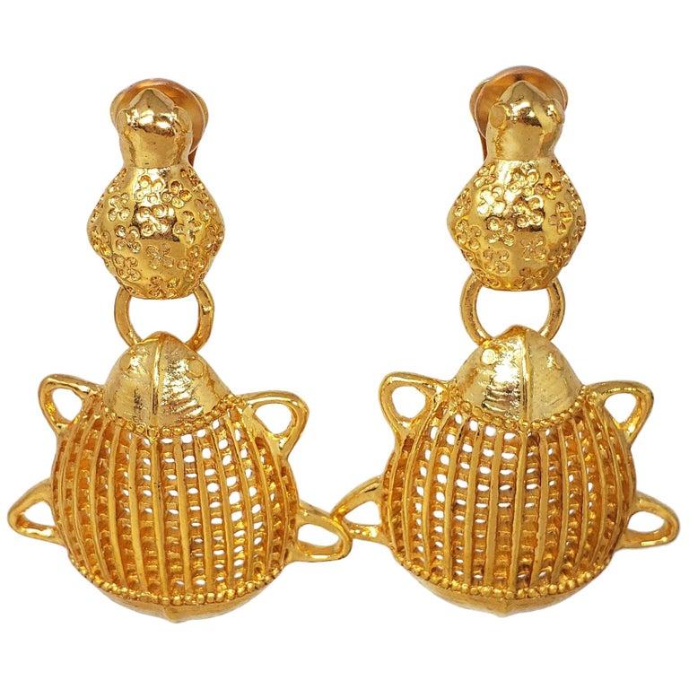 Oscar de la Renta Scarab Clip On Dangling Earrings In Gold For Sale