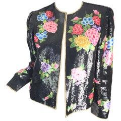 Oscar de la Renta sequin floral jacket