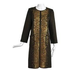 Oscar de la Renta Sequined Chocolate Brown Double Face Wool Coat